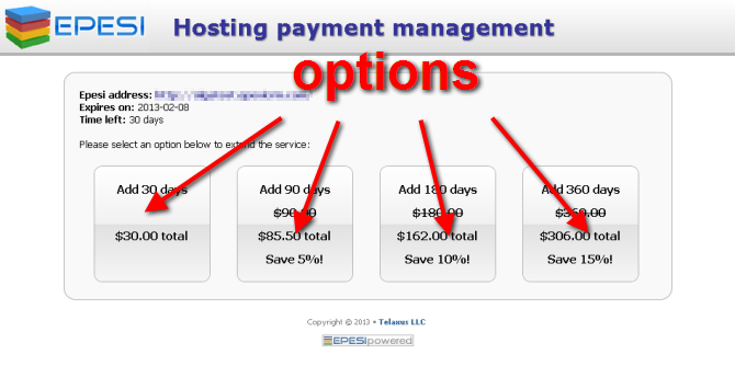 Hosting Payment Options