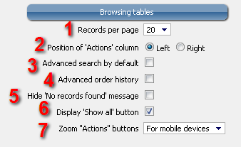 RB Browsing Tables